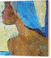 Black Lady With Blue Head-dress Wood Print