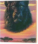 Black Lion Wood Print
