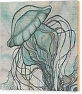 Black Lung Green Jellyfish Wood Print by Tamara Phillips