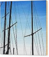 Black N Blue Hour Of Sailing Ships Wood Print by Rosemarie E Seppala