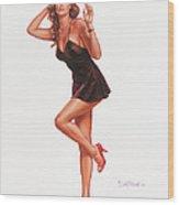 Black Negligee Girl Wood Print