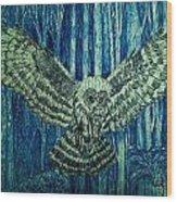 Black Owl On Blue Night Wood Print