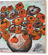 Black Poppies Wood Print by Ramona Matei