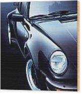 Black Porsche Turbo Wood Print