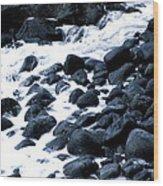 Black Rocks Along The Puna Coast Wood Print