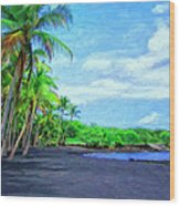 Black Sand Beach At Punaluu Wood Print