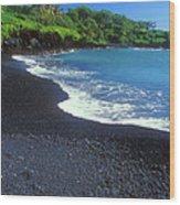Black Sand Beach Hana Maui Hawaii Wood Print