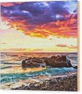 Black Sand Sunset Wood Print