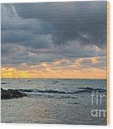 Black Sea Sunrise Before Storm Wood Print
