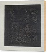 Black Square Wood Print