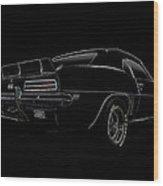 Black Ss Line Art Wood Print