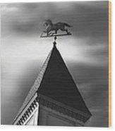 Black Stallion Weathervane Wood Print