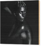 Black Statue Wood Print by Dan Comaniciu
