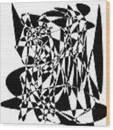 Black Stroke Wood Print