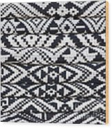 Black Thai Fabric 02 Wood Print
