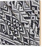 Black Thai Fabric 03 Wood Print