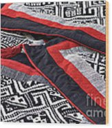 Black Thai Fabric 04 Wood Print