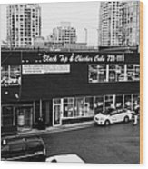 black top and checker cabs office Vancouver BC Canada Wood Print