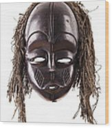 Black Tribal Face Mask On Isolated On White Wood Print