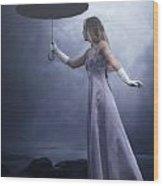 Black Umbrella Wood Print
