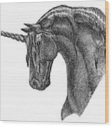Black Unicorn Wood Print