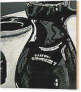 Black Vase Wood Print