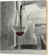 Black White And Red Wine Wood Print