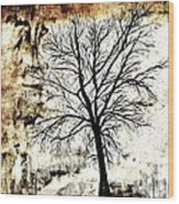 Black White And Sepia Tones Silhouette Tree Painting Wood Print
