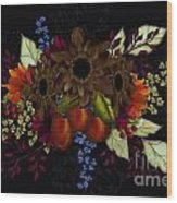 Black With Flowers And Fruit Wood Print
