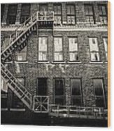 Blackened Fire Escape Wood Print