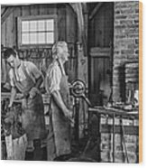 Blacksmith And Apprentice 2 Bw Wood Print