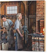 Blacksmith And Apprentice 2 Wood Print