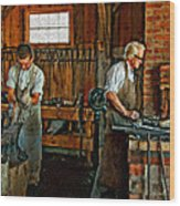 Blacksmith And Apprentice Impasto Wood Print