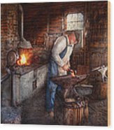 Blacksmith - The Smith Wood Print by Mike Savad