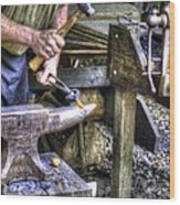 Blacksmith Working Iron V1 Wood Print