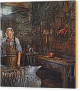 Blacksmith - Working The Forge  Wood Print by Mike Savad