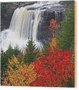 Blackwater Falls In Autumn Wood Print by Jetson Nguyen