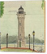 Blackwell Island Lighthouse Ny Chart Map Art Wood Print
