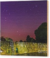 Blanco River Dam At Night - Texas Hill Country Blanco Texas Wood Print