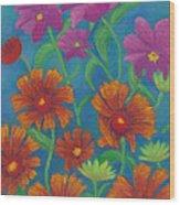 Blanket Flowers And Cosmos Wood Print
