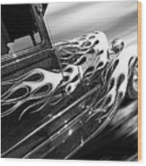 Blazing A Trail - Ford Model A 1929 In Black And White Wood Print