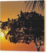 Blazing Red Sea Sunset Wood Print by George Paris
