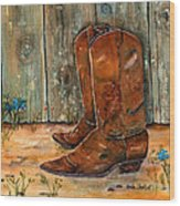 Bless My Boots Wood Print