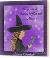 Blessed Samhain Witch Wood Print