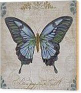 Bleu Papillon-a Wood Print