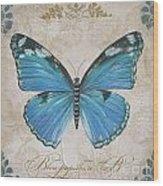 Bleu Papillon-b Wood Print