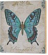 Bleu Papillon-c Wood Print