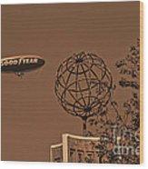 Blimp Over Usc Wood Print