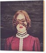Blinded Surreal Portrait In Burgundy With Braids Wood Print