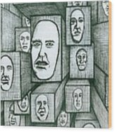Block Head Wood Print